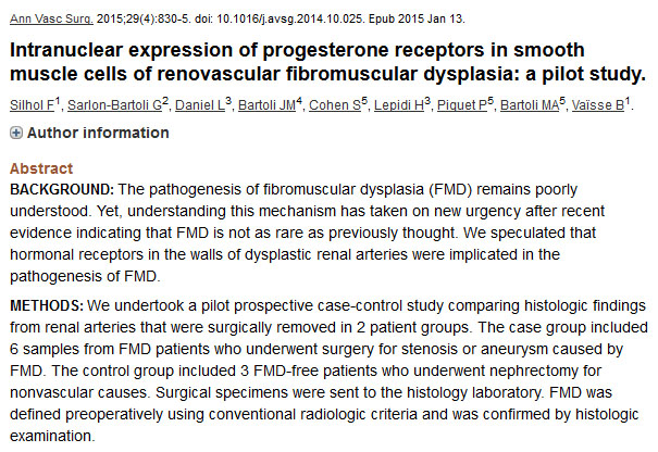 Intranuclear expression of progesterone receptors in smooth muscle cells of renovascular fibromuscular dysplasia: a pilot study.